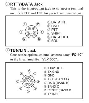 FT-991 jacks