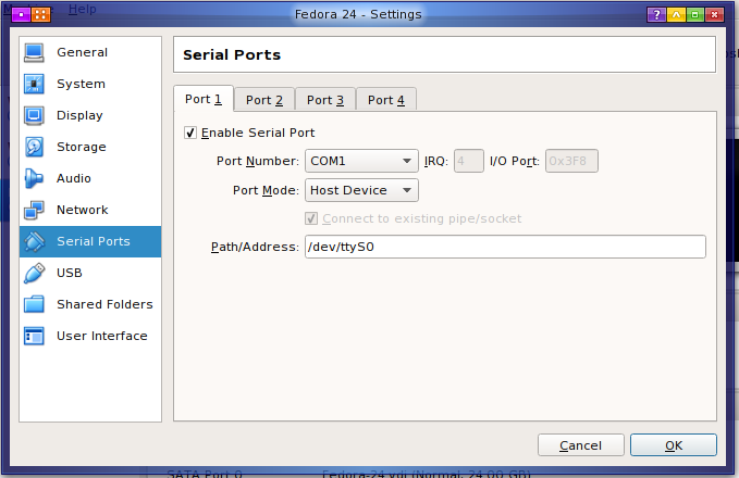 VirtualBox Serial Port